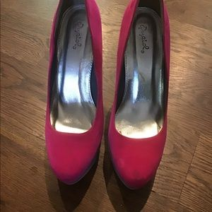Hot pink with grey tones sueded platforms